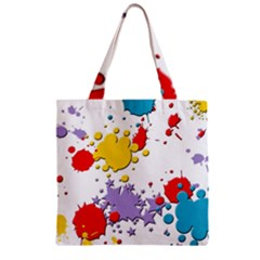Paint Splash Rainbow Star Zipper Grocery Tote Bag by Mariart