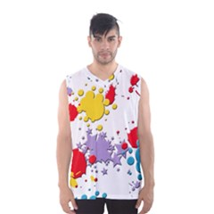 Paint Splash Rainbow Star Men s Basketball Tank Top by Mariart
