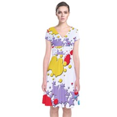 Paint Splash Rainbow Star Short Sleeve Front Wrap Dress by Mariart
