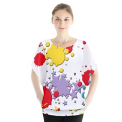 Paint Splash Rainbow Star Blouse by Mariart