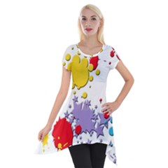 Paint Splash Rainbow Star Short Sleeve Side Drop Tunic by Mariart