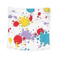 Paint Splash Rainbow Star Square Tapestry (small)