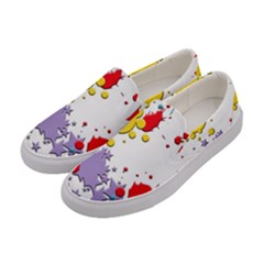 Paint Splash Rainbow Star Women s Canvas Slip Ons by Mariart