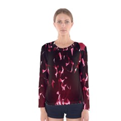 Lying Red Triangle Particles Dark Motion Women s Long Sleeve Tee