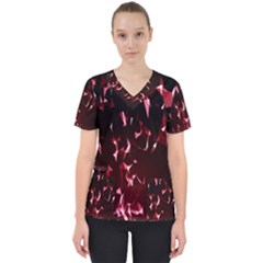 Lying Red Triangle Particles Dark Motion Scrub Top