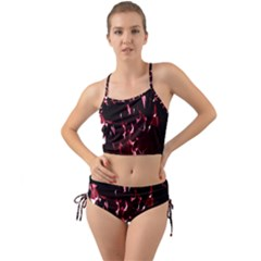 Lying Red Triangle Particles Dark Motion Mini Tank Bikini Set