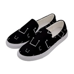 Pit White Black Sign Pattern Women s Canvas Slip Ons by Mariart