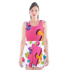 Passel Picture Green Pink Blue Sexy Game Scoop Neck Skater Dress