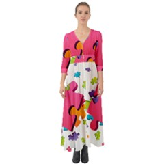 Passel Picture Green Pink Blue Sexy Game Button Up Boho Maxi Dress