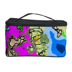 Painting Map Pink Green Blue Street Cosmetic Storage Case by Mariart
