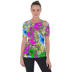 Painting Map Pink Green Blue Street Short Sleeve Top by Mariart