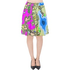 Painting Map Pink Green Blue Street Velvet High Waist Skirt
