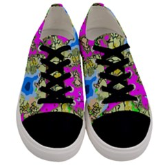 Painting Map Pink Green Blue Street Men s Low Top Canvas Sneakers