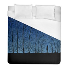 Forest Tree Night Blue Black Man Duvet Cover (full/ Double Size) by Mariart