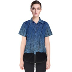 Forest Tree Night Blue Black Man Women s Short Sleeve Shirt by Mariart
