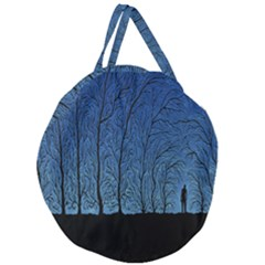 Forest Tree Night Blue Black Man Giant Round Zipper Tote by Mariart