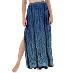 Forest Tree Night Blue Black Man Maxi Chiffon Tie Up Sarong