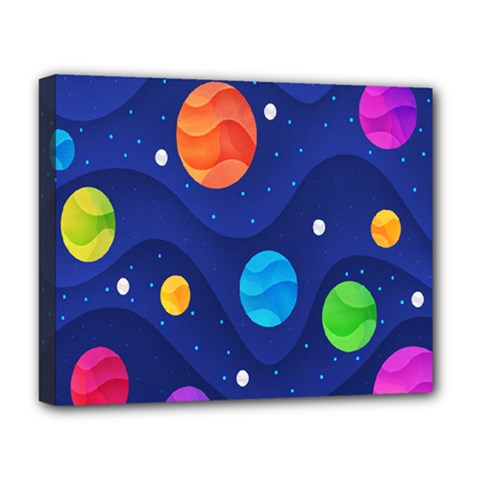 Planet Space Moon Galaxy Sky Blue Polka Deluxe Canvas 20  X 16   by Mariart