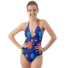 Planet Space Moon Galaxy Sky Blue Polka Halter Cut Out One Piece Swimsuit