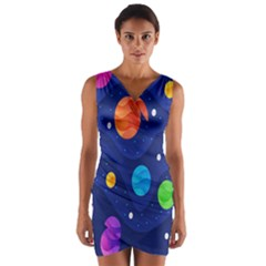 Planet Space Moon Galaxy Sky Blue Polka Wrap Front Bodycon Dress