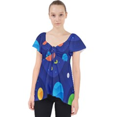 Planet Space Moon Galaxy Sky Blue Polka Lace Front Dolly Top by Mariart