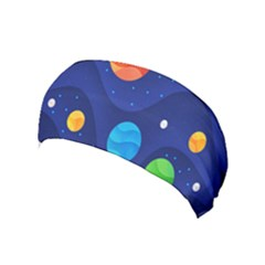 Planet Space Moon Galaxy Sky Blue Polka Yoga Headband by Mariart