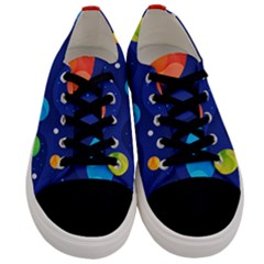 Planet Space Moon Galaxy Sky Blue Polka Men s Low Top Canvas Sneakers
