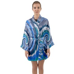 Psycho Hole Chevron Wave Seamless Long Sleeve Kimono Robe by Mariart