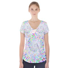 Prismatic Abstract Rainbow Short Sleeve Front Detail Top