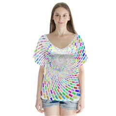 Prismatic Abstract Rainbow V Neck Flutter Sleeve Top