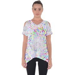 Prismatic Abstract Rainbow Cut Out Side Drop Tee