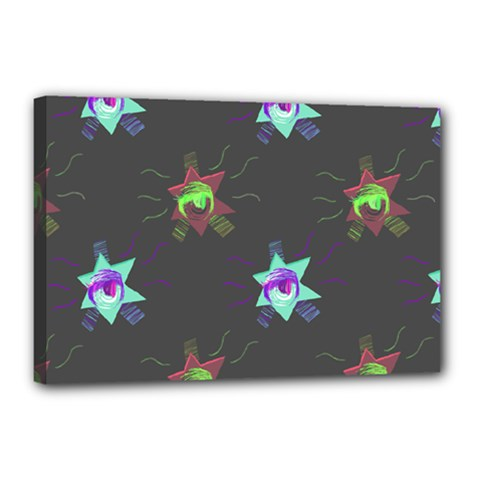 Random Doodle Pattern Star Canvas 18  X 12  by Mariart