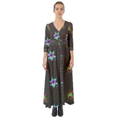 Random Doodle Pattern Star Button Up Boho Maxi Dress
