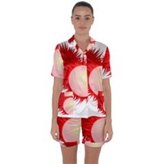Rambutan Fruit Red Sweet Satin Short Sleeve Pyjamas Set