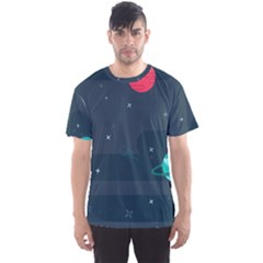 Space Pelanet Galaxy Comet Star Sky Blue Men s Sports Mesh Tee by Mariart
