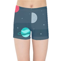 Space Pelanet Galaxy Comet Star Sky Blue Kids Sports Shorts by Mariart