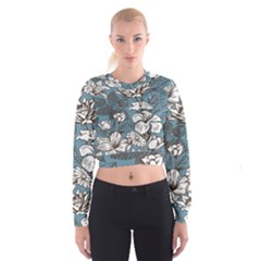 Star Flower Grey Blue Beauty Sexy Cropped Sweatshirt