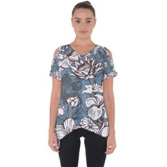 Star Flower Grey Blue Beauty Sexy Cut Out Side Drop Tee