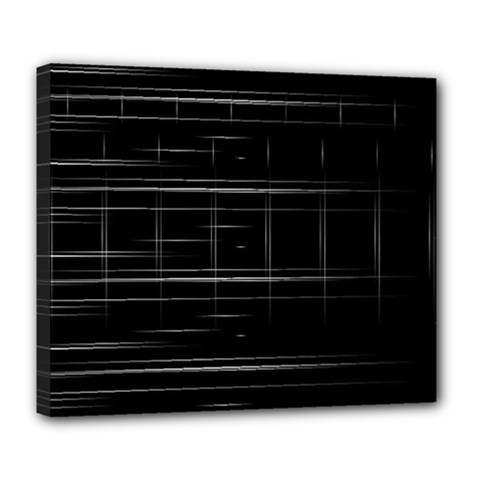 Stripes Black White Minimalist Line Deluxe Canvas 24  X 20