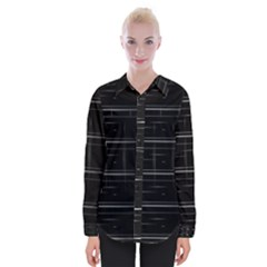Stripes Black White Minimalist Line Womens Long Sleeve Shirt by Mariart