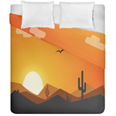 Sunset Natural Sky Duvet Cover Double Side (california King Size) by Mariart
