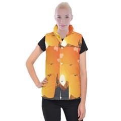 Sunset Natural Sky Women s Button Up Puffer Vest by Mariart