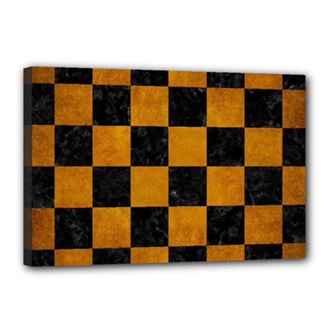 Square1 Black Marble & Yellow Grunge Canvas 18  X 12  by trendistuff