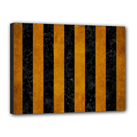 Stripes1 Black Marble & Yellow Grunge Canvas 16  X 12  by trendistuff