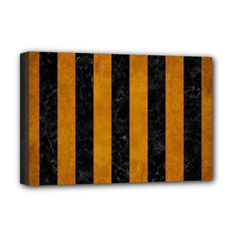Stripes1 Black Marble & Yellow Grunge Deluxe Canvas 18  X 12   by trendistuff