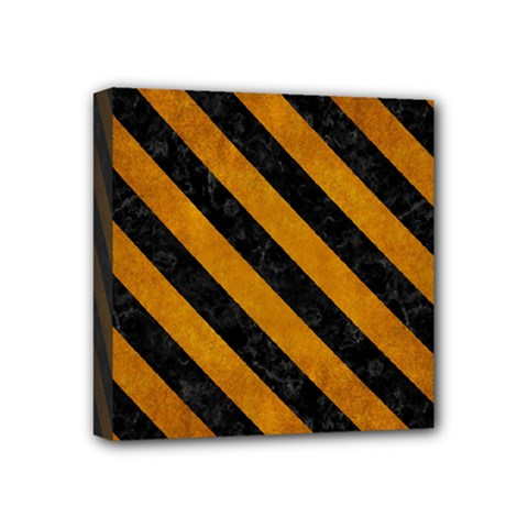 Stripes3 Black Marble & Yellow Grunge Mini Canvas 4  X 4  by trendistuff
