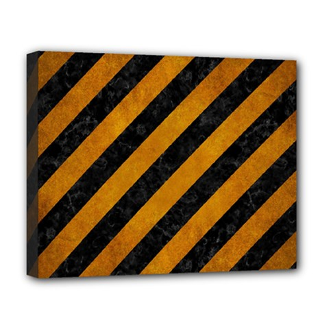 Stripes3 Black Marble & Yellow Grunge (r) Deluxe Canvas 20  X 16   by trendistuff