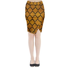 Tile1 Black Marble & Yellow Grunge Midi Wrap Pencil Skirt