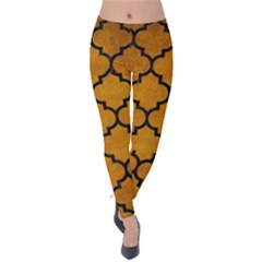 Tile1 Black Marble & Yellow Grunge Velvet Leggings