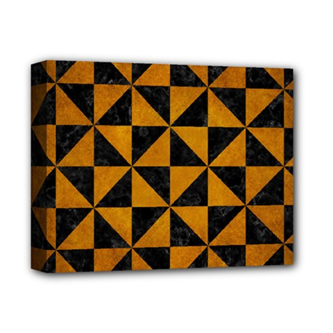 Triangle1 Black Marble & Yellow Grunge Deluxe Canvas 14  X 11  by trendistuff